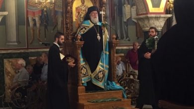 """Photo of BISHOP OF CORFU MR. NEKTARIOS: """" The cross saves us and not the fake divinities of our times"""""""