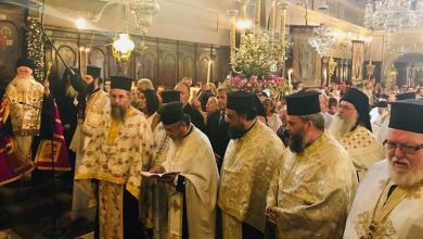 Photo of Saint Spyridon's Basmata (the re-entrance of the relic into its Position)
