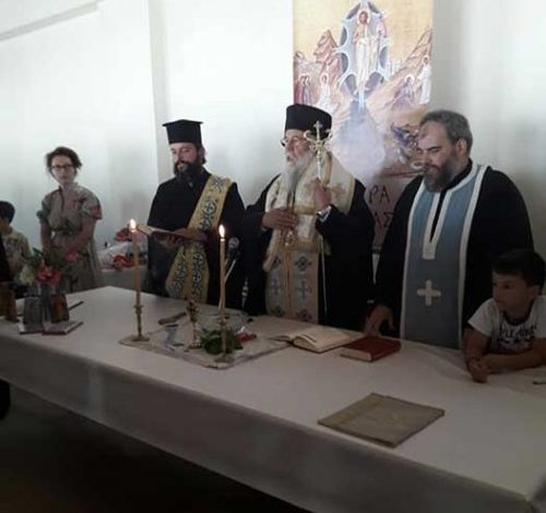 The Bishop of Corfu visits the camping in Kassiopi